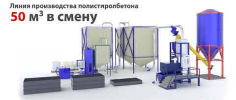 Стационарная линия по производству полистиролбетона, фото