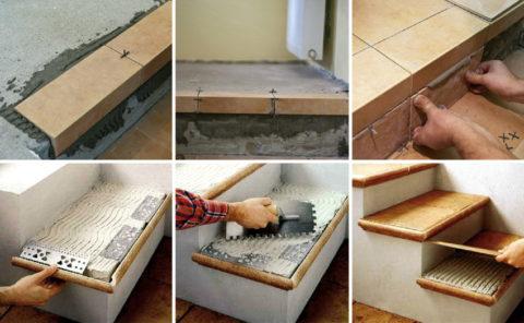 Укладка плитки начинается с верхних ступеней