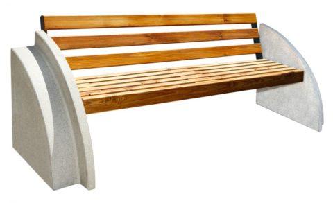 Бетонная скамейка садовая со спинкой