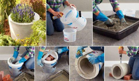 Бетонный садовый вазон, изготовленный при помощи пластиковых ведер