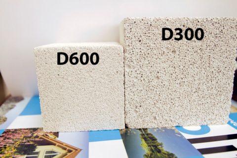 Блоки с разным показателем средней плотности, фото
