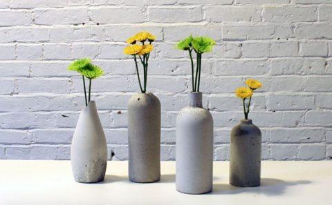 Декоративные бетонные вазочки