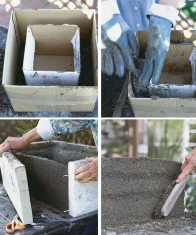 Формирование опалубки для бетонного цветника прямоугольной формы с использованием прочного картона и досок
