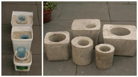 На фото показано, как сделать вазу из бетона при помощи пластиковых емкостей