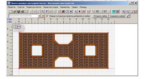 На фото скрин программы для создания схем из брусчатки
