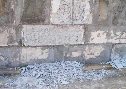 Разрушение блоков вследствие воздействия влаги