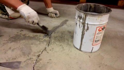 Заделка трещин ишпаклевание пола бетонного