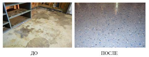 До и после проведения ремонта бетонного пола в гараже