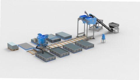Линия стационарного типа для производства газобетонного блока