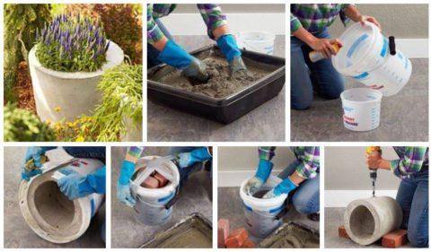 На фото пошаговая инструкция изготовления бетонного вазона при помощи пластиковых ведер