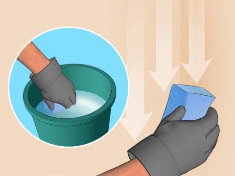 Направление движений при смывке побелки со стены
