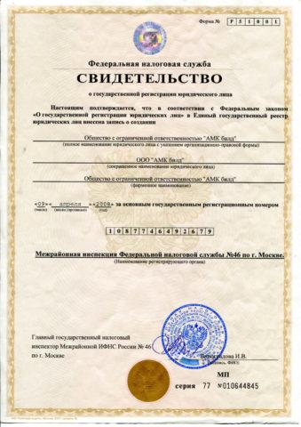 Общий вид свидетельства о государственной регистрации