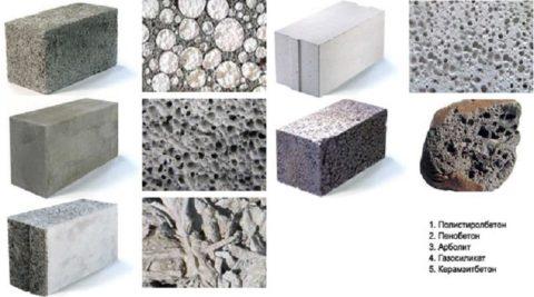 Представители легких бетонов