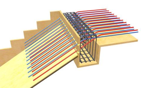 Пример расположения прутков арматуры при изготовлении бетонной лестницы