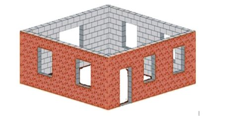 Примерный проект первого этажа дома, удобный для расчета кубатуры пенобетона