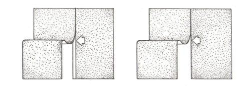 Способы приклеивания бумажного полотна: слева – внахлест, справа – встык
