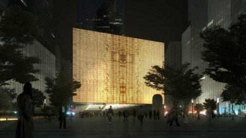 Вид на ночное здание Центра исполнительских искусств Перельмана в ВТЦ, Нью Йорк. Конструкция строения собрана из блоков светопроводящего бетона