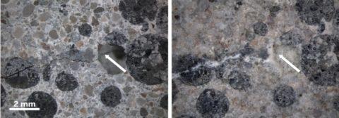 Восстановленные внутренние микротрещины под микроскопом