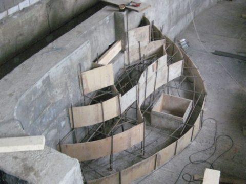 Армированный каркас для бетонных ступенек