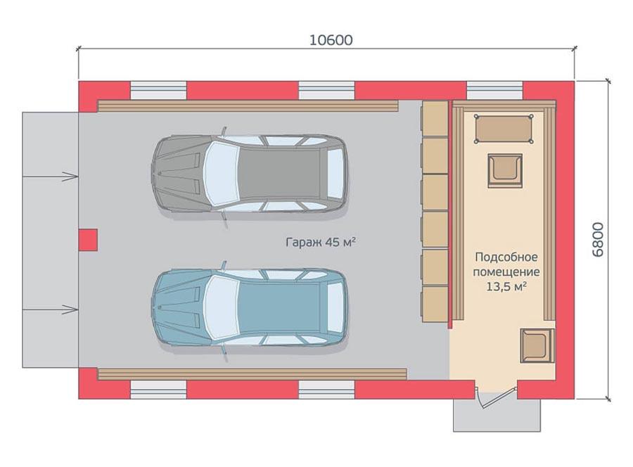 Лос-Анджелесе проект гаража на 6 машин решение!Проектная