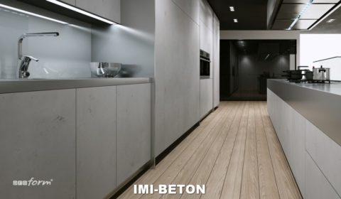 Фасады кухонной мебели изготовлены из плит Ими-Бетон