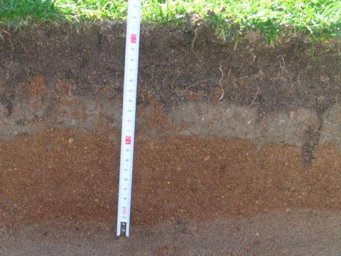 Глубина котлована равно величине набора пирога под георешетку, включая высоту самого бетонного модуля