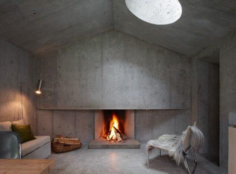 Камин из бетона – современное исполнение