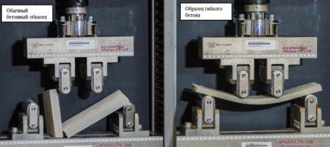 На фото показаны два образца обычного и гибкого бетона под давлением изгибающий нагрузки одинаковой величины
