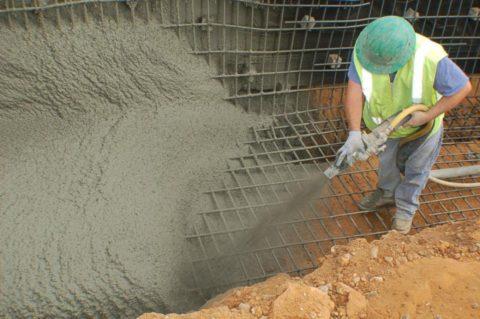 Нанесение торкрет бетона