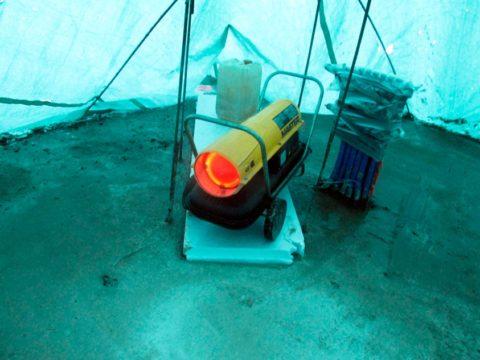 Обогрев шатра тепловым агрегатом