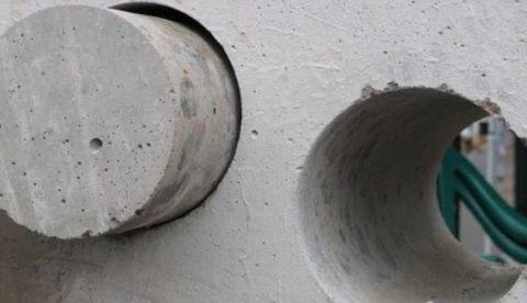 Отверстие в бетоне, выполненное с помощью алмазного бурения