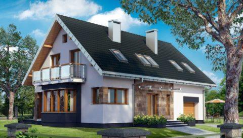 Проекты домов с мансардой из газобетона: фасад с одной стороны
