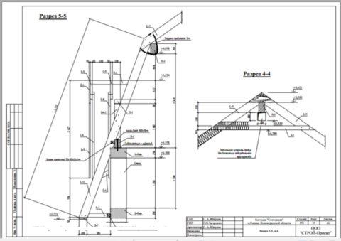 Разрезы стропильной конструкции