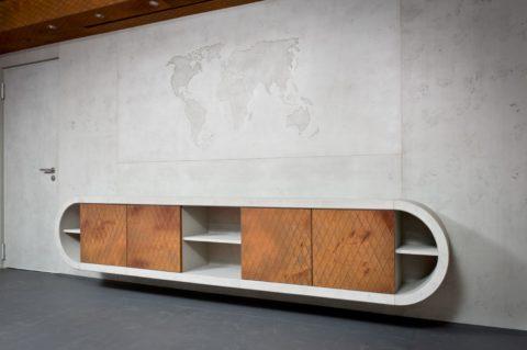 Стена облицована многослойными плитами материала Imi-Beton