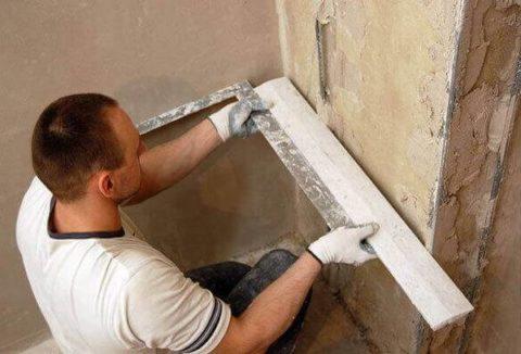 Близкорасположенные углы рекомендуется оштукатуривать водин прием