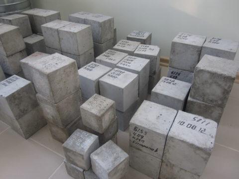 Кубики бетона перед испытанием