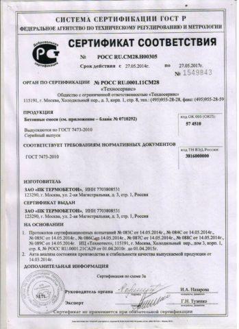 Набетон В15 М200 сертификатипрочие смеси
