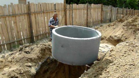 Процесс установки бетонного кольца