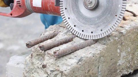 Резка арматуры в бетоне