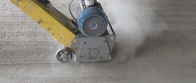 Процесс фрезерования бетонного пола