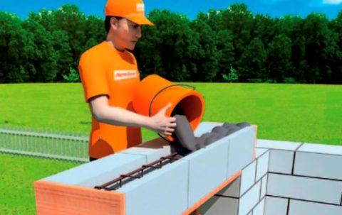 Оборудование оконной перемычки изU-блоков
