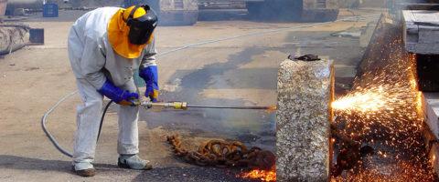 Прожигание бетона кислородным копьем