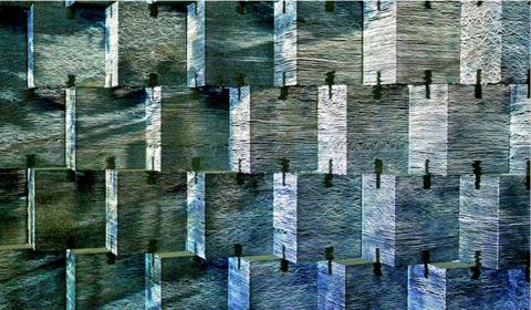 Стена изсветопрозрачных бетонных блоков сразличной подсветкой