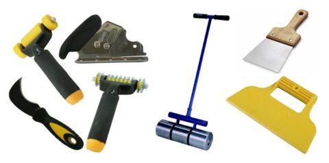 Инструменты для приклеивания покрытия