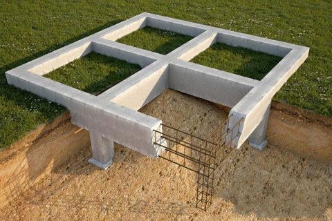 Простой ленточный фундамент насваях сразницей втолщине ленты