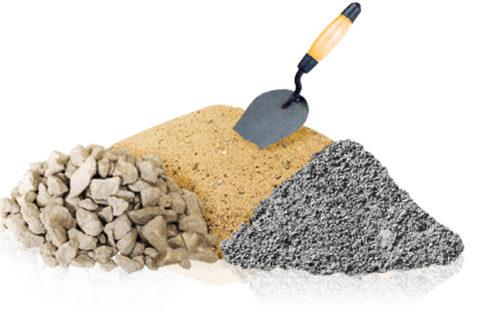 Составляющие бетонного раствора: цемент, песок, щебень