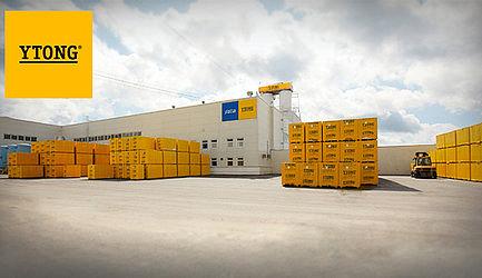 Территория завода фирмы «Xella» по изготовлению автоклавного газобетона в Можайске