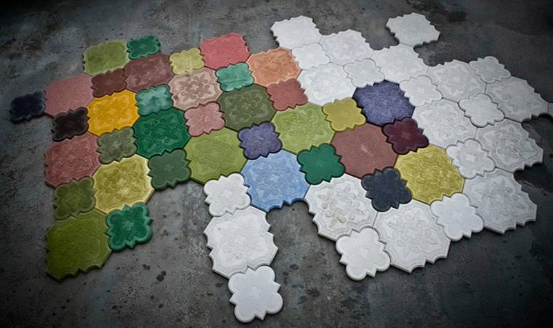 как сделать цветной бетон