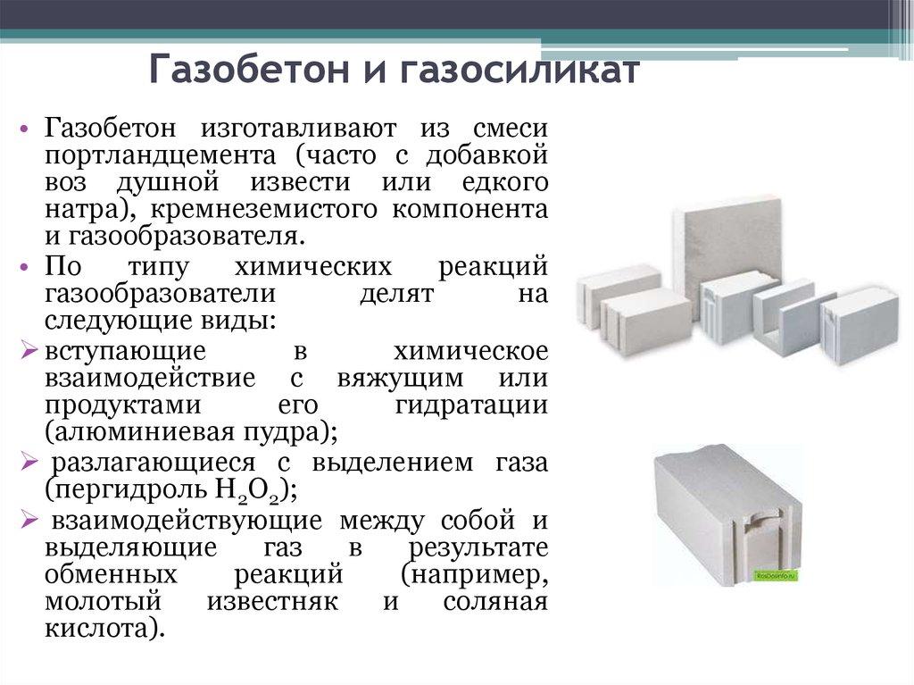 газобетон или газосиликат в чем разница