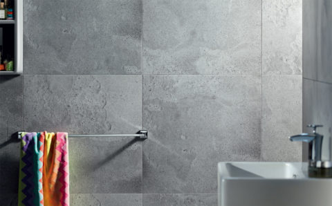 Эффектная имитация бетонной поверхности керамогранитной плиткой